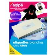 Doos 800 adresetiketten Agipa 118987 wit 99,1 x 67,7 mm voor laser en inkjet