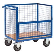 Container cart grid structure with half and foldable door