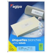 Box of 4000 address labels Agipa 118991 white 48,5 x 25,4 mm for laser and inkjet