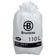 Sac poubelle 110 litres NF Bruneau blanc  - 200 sacs