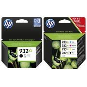 HP 932XL + 933XL - CN053AE - C2P42AE, pack 2 cartouches noires + 3 cartouches couleur haute capacité pour imprimante jet d'encre