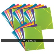 Pack 15 plastic mappen met 3 kleppen en elastiek Memphis Elba 24 x 32 cm rug 1,5 cm geassorteerde kleuren + 5 gratis