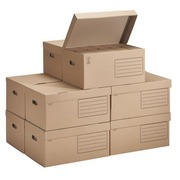 Pack 60 archive boxes back 10 cm + 10 cases budget brown