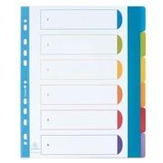 Intercalaire A4+ polypropylène coloré opaque Exacompta 6 onglets neutres réinscriptibles multicolores - 1 jeu