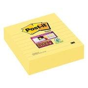 Notes lignées couleurs jaune Super Sticky Post-it 101 x 101 mm - bloc de 70 feuilles