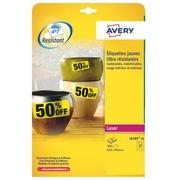 Etiquette ultra résistante laser 63.5 x 29.6 mm Avery L6105-20 jaune - Pochette de 540