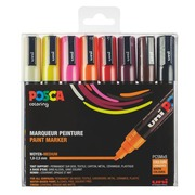 Marqueur Posca couleurs chaudes assorties pointe conique 1,8 à 2,5 mm - Boîte de 8