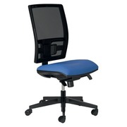 Office chair mesh back and seat in fabric Bruneau Activ' blue - Permanent contact