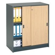 Pc-kast 100 x 90 antraciet-beuk
