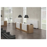 Straight reception desk Jana walnut/white W 366 cm