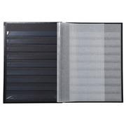 Postzegelalbum met kaft in kunstleder - 16 zwarte bladen - 9 banden - 22 ,5x30,5cm - Rood (26133E)