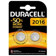 Button battery CR2016 lithium Duracell - Blister of 2 batteries