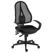 Bureaustoel Holly met vaste armsteunen synchroon zwart