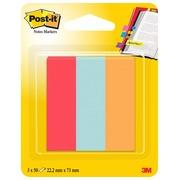 Post-It Markeerstroken, 50 blaadjes, ft 22,2 x 73 mm, pak van 3 blokken