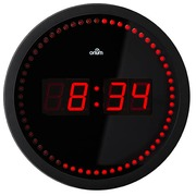 Round black LED clock quartz