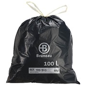 Garbage bag 100 L superior quality with drawstring Bruneau - box of 100