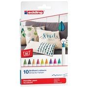 Edding feutre textile 4600, boîte de 10 pièces en couleurs assorties