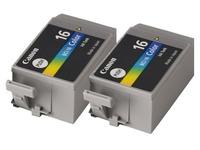 Pack van 2 cartridges Canon BCI-16 C kleur