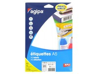 Box of 320 adhesive labels Agipa 114014 white 48,5 x 25 mm laser and inkjet