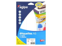 Box of 96 adhesive labels Agipa 114022 white 80 x 45 mm laser and inkjet