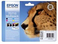 Pack van 4 cartridges Epson T0715 zwart + kleur