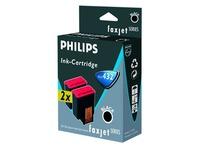 Pack van 2 cartridges Philips PFA-432 zwart