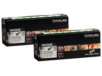Lexmark 34016HE Pack 2 toners haute capacité noirs pour imprimante laser