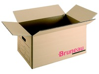 Caisse déménagement Bruneau kraft brun double cannelure L 56,5 x H 45 x P 45 cm