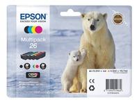 Pack von 4 Cartridges Epson 26 Schwarz + Farbig