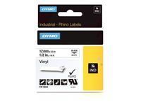 Vinyl ribbon Dymo Rhino 12 mm 18444 white with black text