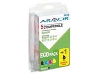 Pack von 5 Cartridges Armor vereinbar mit Epson T0711, 0712, 0713, 0714 Schwarz x 2 + Farbig