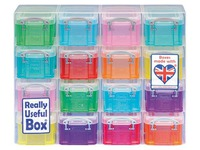 Organizer with 16 plastic boxes 0,14 L Really Useful Box assorted colours
