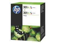 HP 301XL Pack van 2 cartridges kleuren voor inkjetprinter