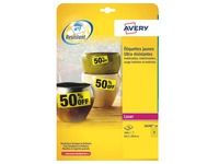 Labels ultra resistant laser 63,5 x 29,6 mm Avery L6105-20 yellow - pack of 540