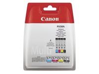 Canon CLI571 pack met 4 cartridges - 1 zwarte + 3 kleuren voor inkjetprinter