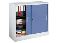Sliding door cabinet, H 105 x W 120 cm, grey body, blue doors