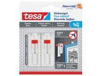 Tesa Klevende Spijker voor Behang en Pleisterwerk, verstelbaar, draagvermogen 1 kg, blister van 2 stuks