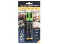 Securit marqueur craie moyenne, blister de 2 pièces, vert