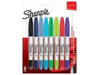 Viltstift Sharpie Twin Tip rond 0.5mm en 0.9mm blister à 8 stuks ass