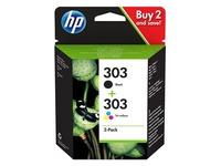 HP 303 Combo Pack - 2-pack - black, dye-based tricolor - original - ink cartridge
